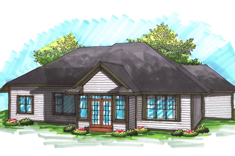 Ranch Exterior - Rear Elevation Plan #70-1032 - Houseplans.com