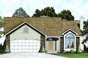 Traditional Style House Plan - 2 Beds 2 Baths 1103 Sq/Ft Plan #58-158 Exterior - Front Elevation