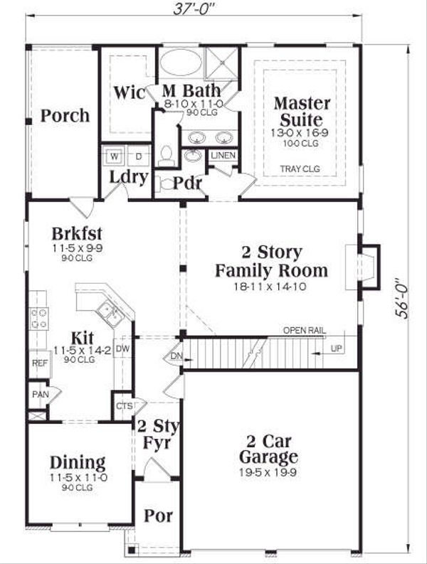 Craftsman Floor Plan - Main Floor Plan Plan #419-175