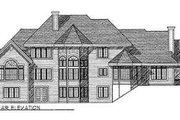 European Style House Plan - 4 Beds 3.5 Baths 3667 Sq/Ft Plan #70-536 Exterior - Rear Elevation