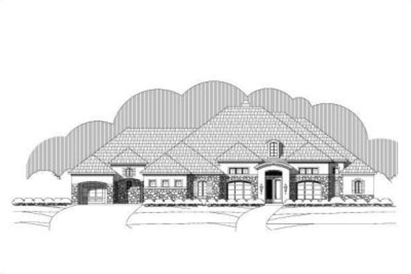 Mediterranean Style House Plan - 4 Beds 3 Baths 3818 Sq/Ft Plan #411-224 Exterior - Front Elevation