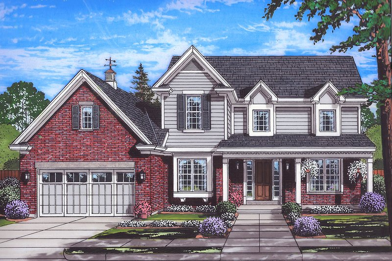 Traditional Style House Plan - 4 Beds 2.5 Baths 2559 Sq/Ft Plan #46-878 Exterior - Front Elevation