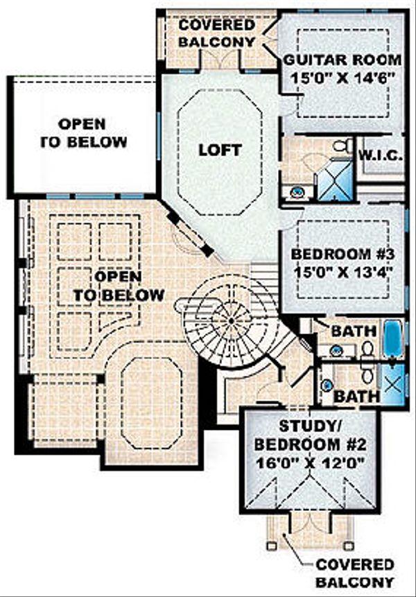 Mediterranean Floor Plan - Upper Floor Plan Plan #27-355