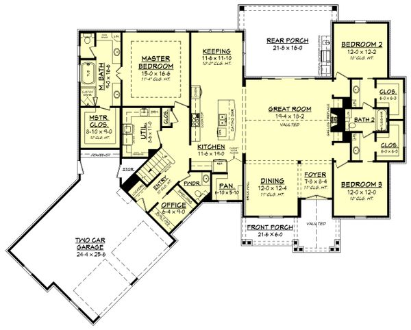 Farmhouse Floor Plan - Main Floor Plan Plan #430-166