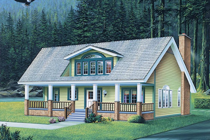 Country Style House Plan - 3 Beds 2.5 Baths 2009 Sq/Ft Plan #57-440 Exterior - Front Elevation