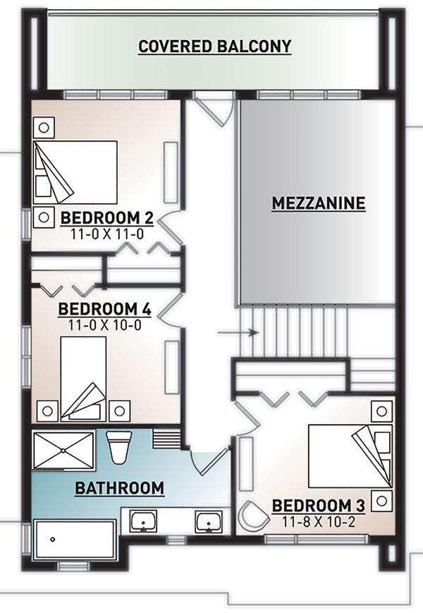 Modern Floor Plan - Upper Floor Plan Plan #23-2310