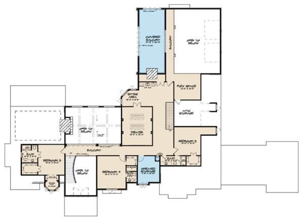 European Floor Plan - Upper Floor Plan Plan #923-112