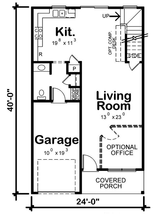 Architectural House Design - Traditional Floor Plan - Main Floor Plan #20-2407