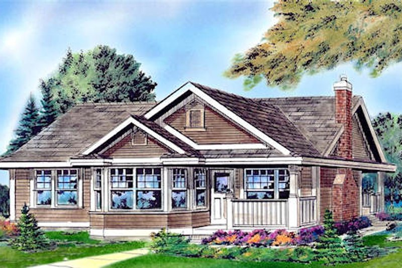 Country Style House Plan - 2 Beds 1 Baths 925 Sq/Ft Plan #18-1047 Exterior - Other Elevation