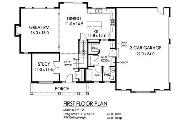 Traditional Floor Plan - Main Floor Plan Plan #1010-224