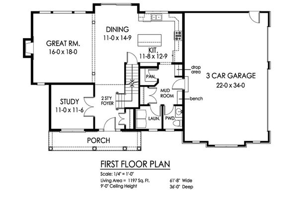 Traditional Floor Plan - Main Floor Plan Plan #1010-224