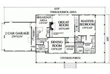 Southern style house plan, main level floorplan