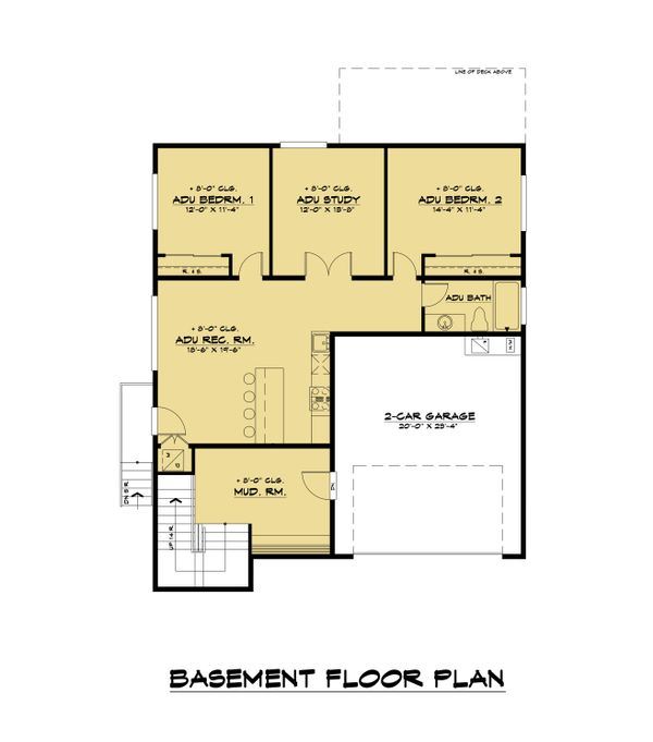 Modern Floor Plan - Lower Floor Plan Plan #1066-109