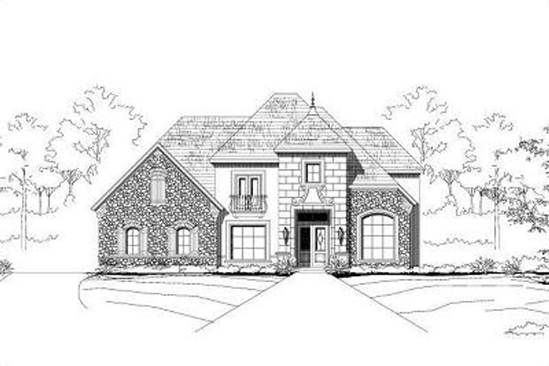 European Style House Plan - 4 Beds 3.5 Baths 4452 Sq/Ft Plan #411-364 Exterior - Front Elevation