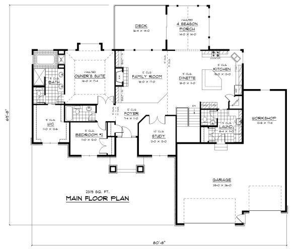 European Floor Plan - Main Floor Plan Plan #51-260