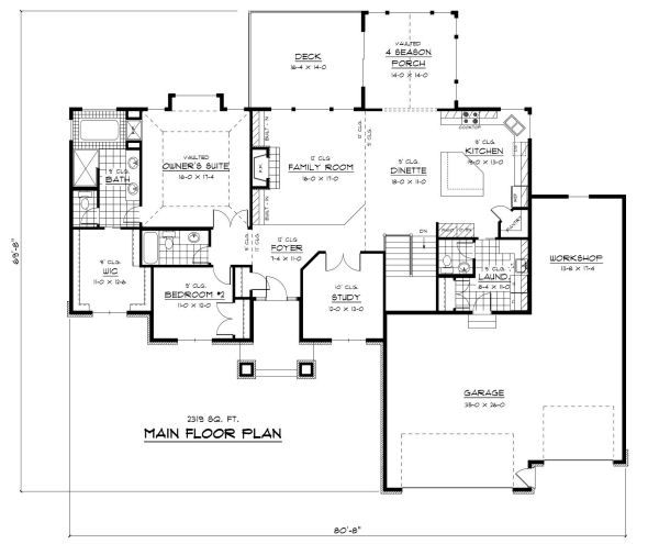 European Floor Plan - Main Floor Plan Plan #51-260