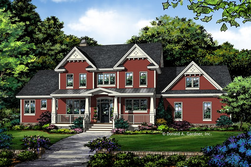 Farmhouse Style House Plan - 4 Beds 3.5 Baths 2546 Sq/Ft Plan #929-1039 Exterior - Front Elevation
