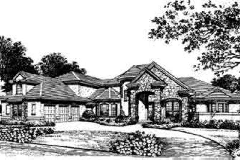European Style House Plan - 4 Beds 4 Baths 4183 Sq/Ft Plan #135-117 Exterior - Front Elevation