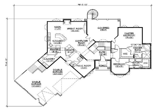 Mediterranean Floor Plan - Main Floor Plan Plan #5-357