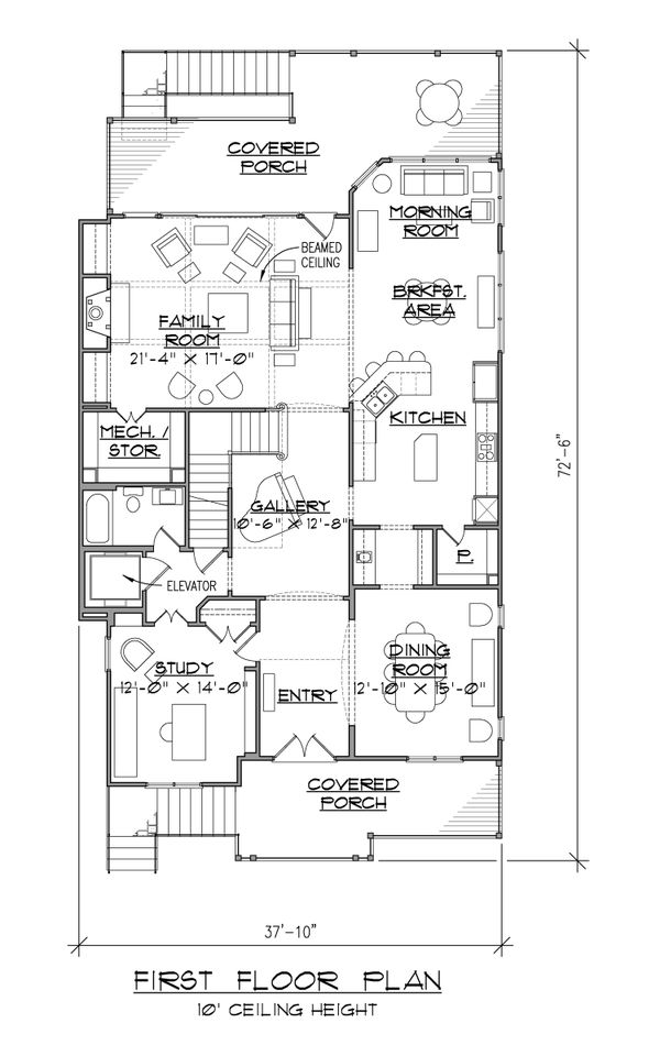 Architectural House Design - European Floor Plan - Main Floor Plan #1054-42