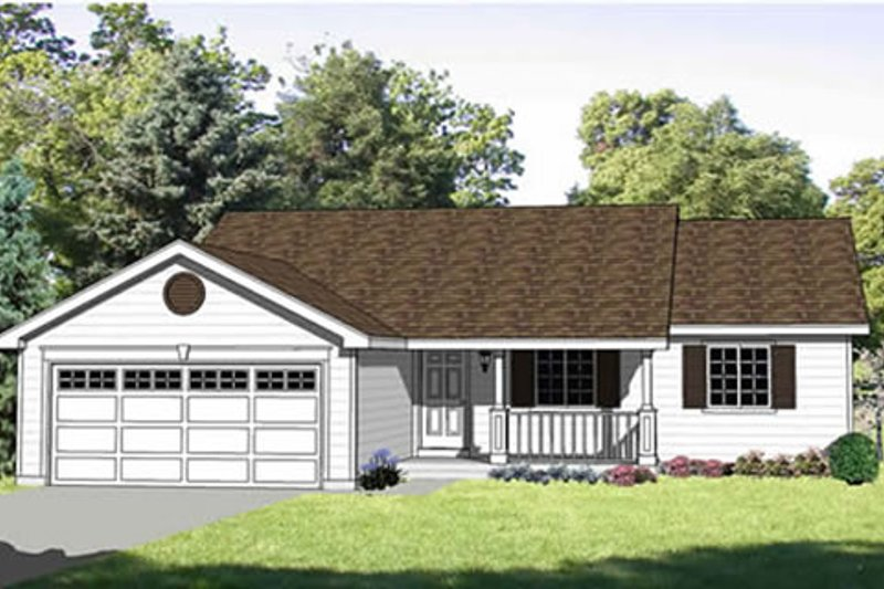 Ranch Style House Plan - 3 Beds 2 Baths 1230 Sq/Ft Plan #116-236 Exterior - Front Elevation