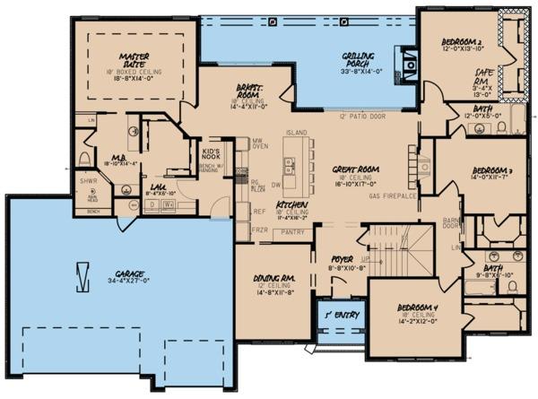 Traditional Floor Plan - Main Floor Plan Plan #923-64