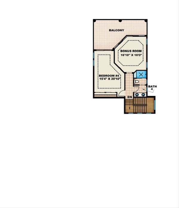 Mediterranean Floor Plan - Upper Floor Plan Plan #27-453