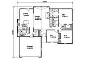 Ranch Style House Plan - 3 Beds 2 Baths 1684 Sq/Ft Plan #22-600 Floor Plan - Main Floor