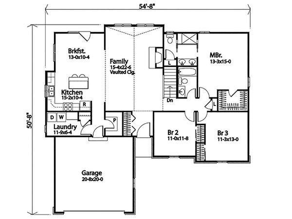 Dream House Plan - Ranch Floor Plan - Main Floor Plan #22-600