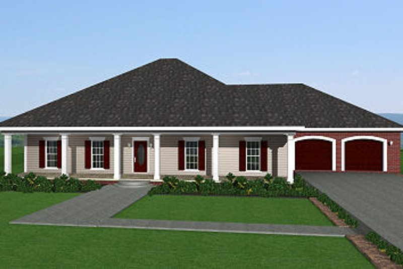 Southern Exterior - Front Elevation Plan #44-143