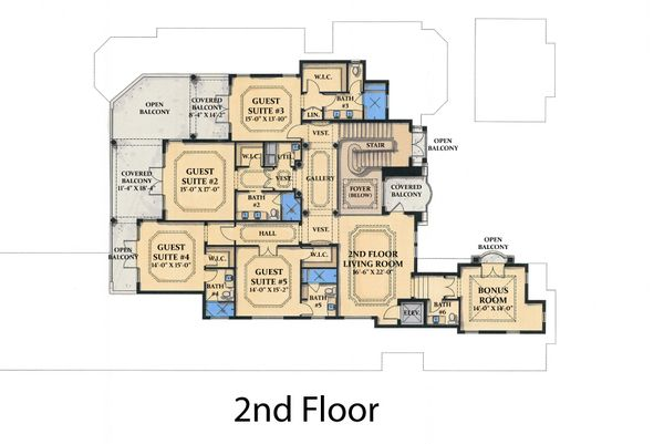 Mediterranean Floor Plan - Upper Floor Plan #548-4