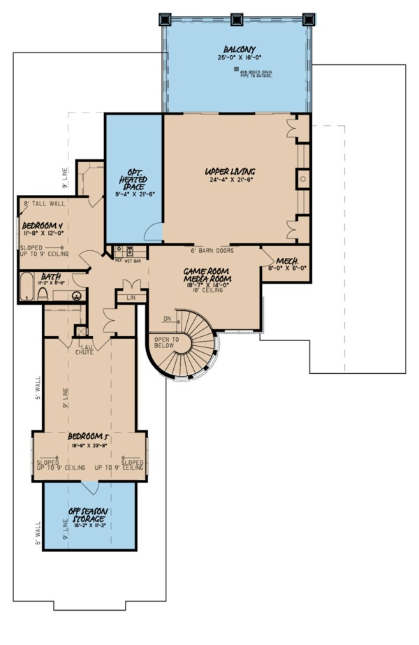 European Floor Plan - Upper Floor Plan #923-111