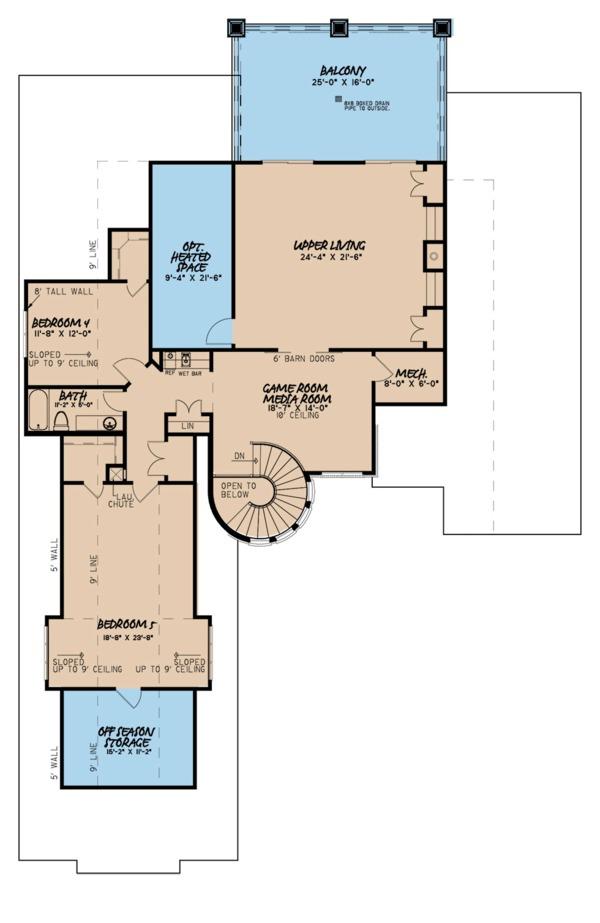 European Floor Plan - Upper Floor Plan Plan #923-111