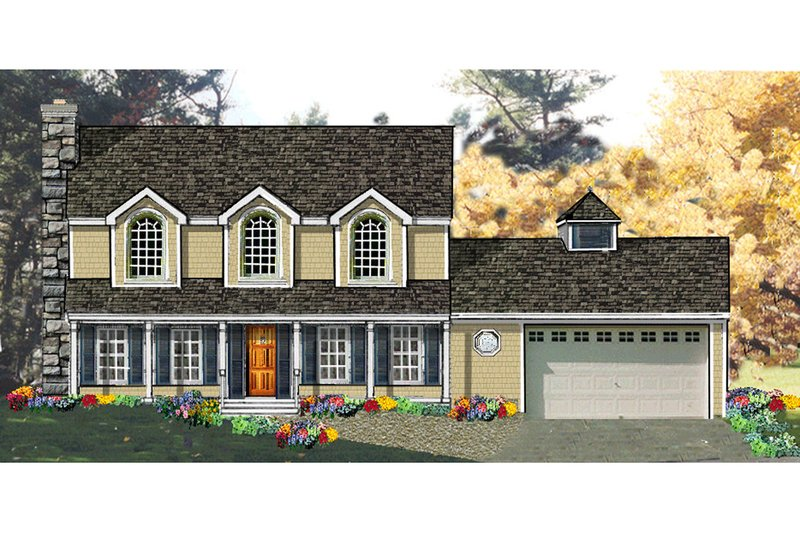 Architectural House Design - Colonial Exterior - Front Elevation Plan #3-180