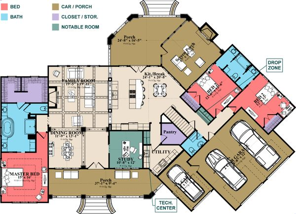 European Floor Plan - Main Floor Plan Plan #63-408