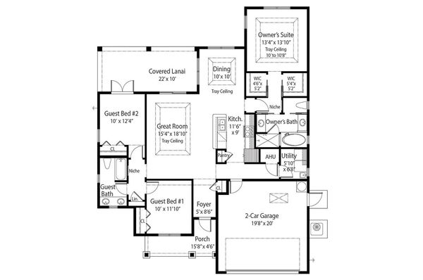 Country Floor Plan - Main Floor Plan Plan #938-3