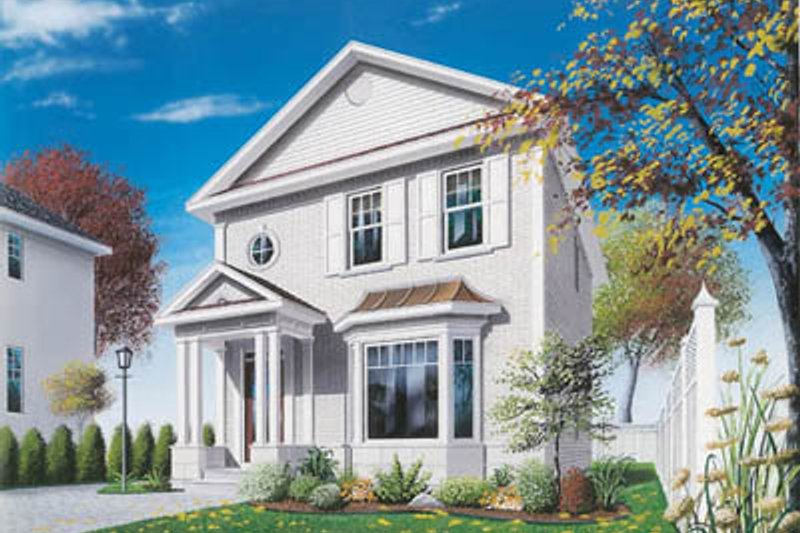 European Style House Plan - 3 Beds 1.5 Baths 1357 Sq/Ft Plan #23-2103 Exterior - Front Elevation