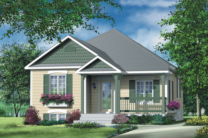 Cottage Style House Plan - 2 Beds 1 Baths 892 Sq/Ft Plan #25-130 Exterior - Front Elevation