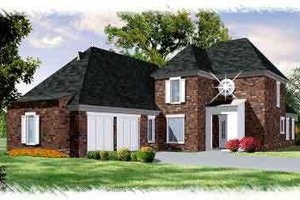 European Exterior - Front Elevation Plan #15-280