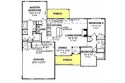 Traditional Style House Plan - 3 Beds 2 Baths 1344 Sq/Ft Plan #20-371 Floor Plan - Main Floor Plan