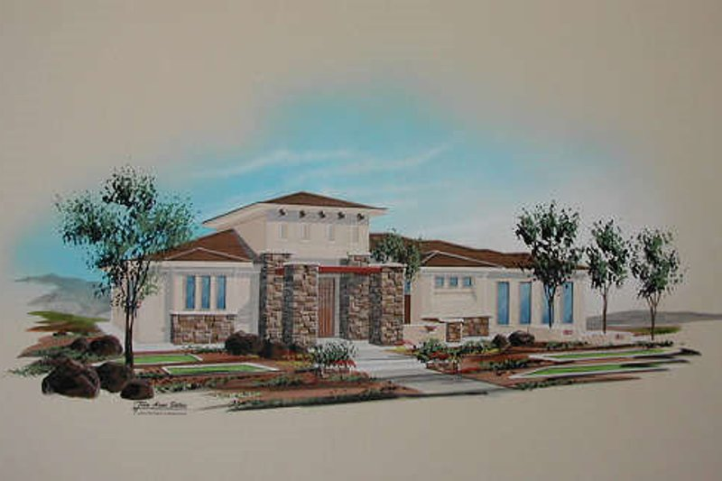 Mediterranean Style House Plan - 5 Beds 4 Baths 2422 Sq/Ft Plan #24-232 Exterior - Front Elevation