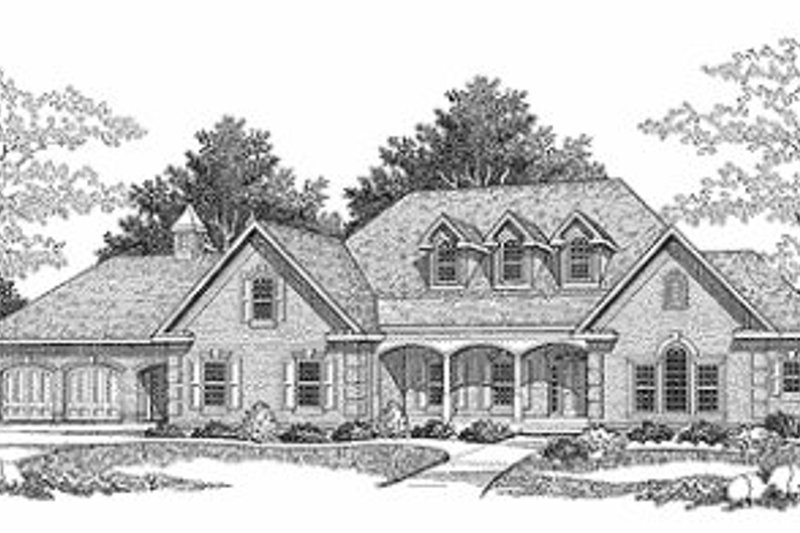 European Style House Plan - 2 Beds 2.5 Baths 3336 Sq/Ft Plan #70-507 Exterior - Front Elevation