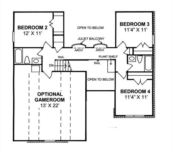 Traditional Floor Plan - Upper Floor Plan Plan #513-2189