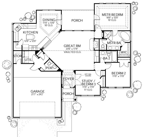 House Plan Design - Traditional Floor Plan - Main Floor Plan #80-109