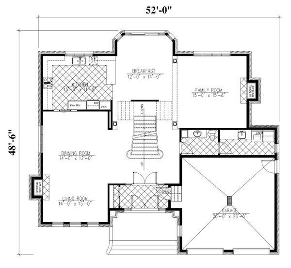 European Floor Plan - Main Floor Plan Plan #138-333