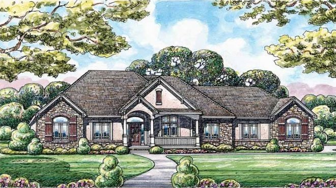 European Style House Plan - 3 Beds 4 Baths 2641 Sq/Ft Plan #20-1820 Exterior - Front Elevation