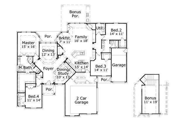 European Floor Plan - Main Floor Plan Plan #411-632
