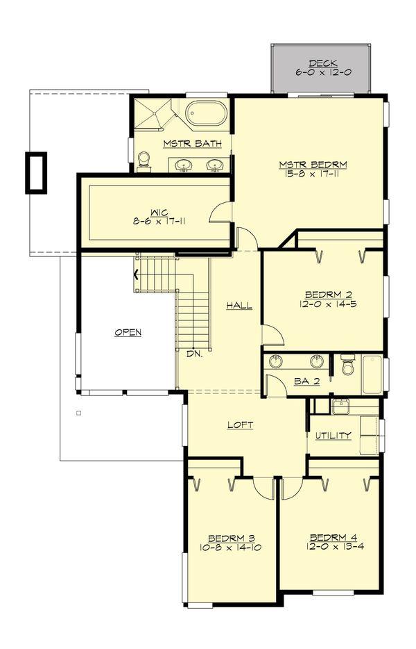 Contemporary Floor Plan - Upper Floor Plan #132-228