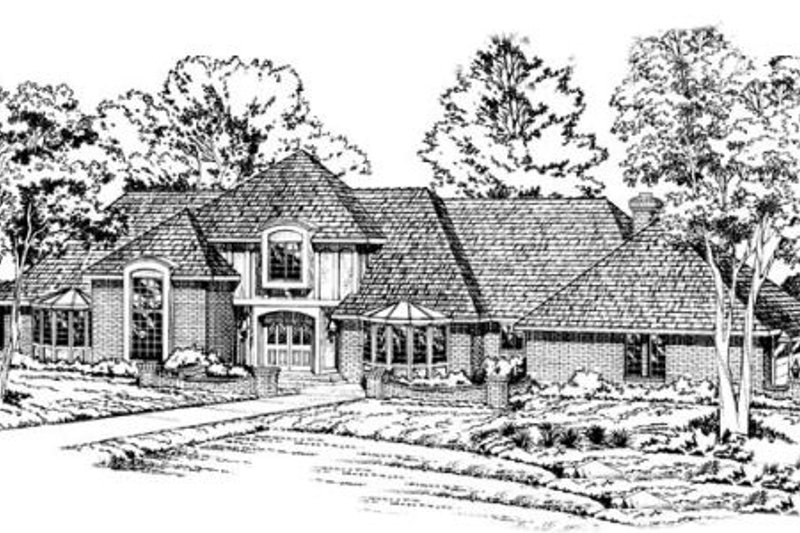 Southern Style House Plan - 4 Beds 5 Baths 4890 Sq/Ft Plan #312-112 Exterior - Front Elevation
