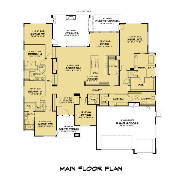 Contemporary Floor Plan - Main Floor Plan #1066-115